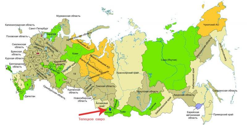 Телецкое озеро на карте России