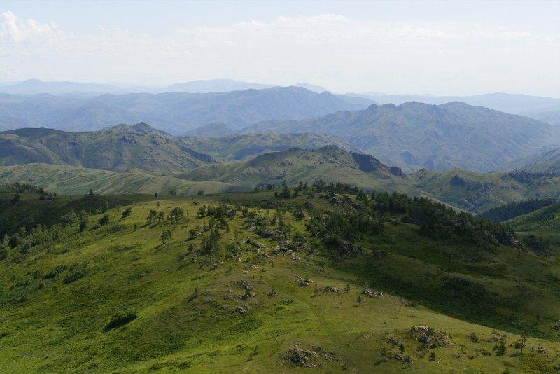 Зеленые холмы в Алтае, Казахстан