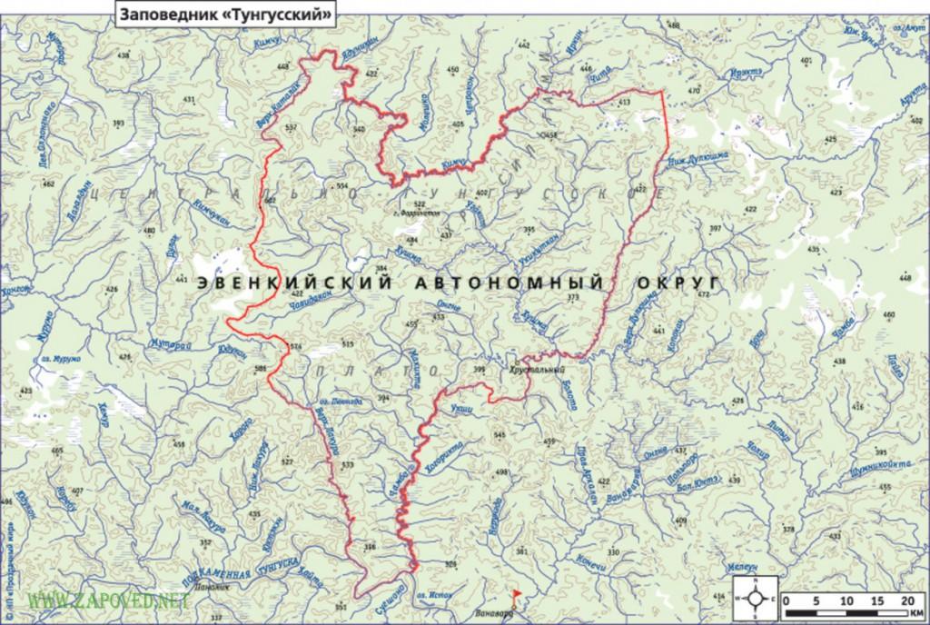 Карта Тунгусского заповедника