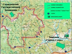 Карта Сохондинского заповедника