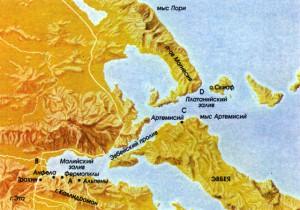 Карта, показывающая расположение сил в битве при Фермопилах. А — Леонид, В — Ксеркс, С — греческий флот, D — флот персов.