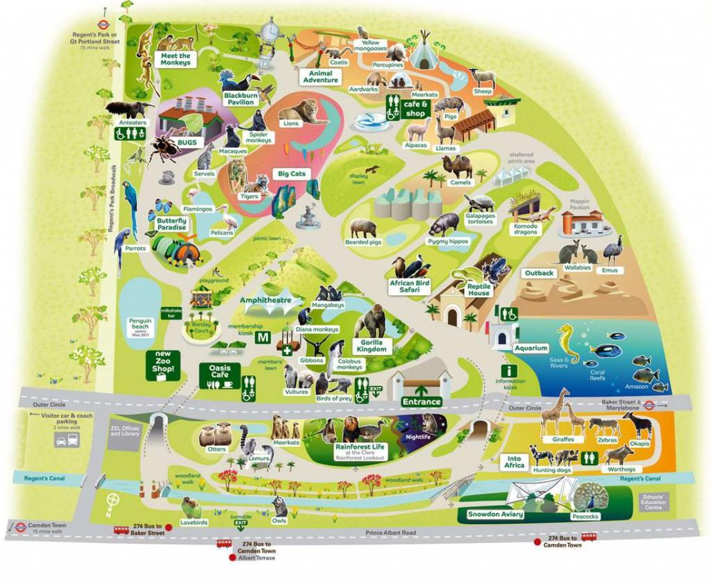 Схема Лондонского зоопарка
