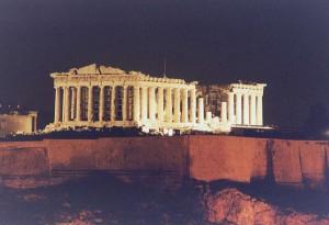 Парфенон ночью