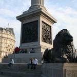Знаменитый лондонский лев у основания колонны