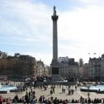 Колонна Нельсона на Трафальгарской площади, Лондон, Англия