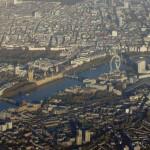 Вид с высоты птичьего полета на Сент-Джеймс Парк, Вестминстер, London Eye, вокзал Ватерлоо