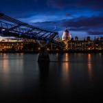 Собор Святого Павла и мост Миллениум ночью, Лондон