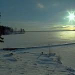 Зимний вечер на Байкале, Сибирь, Россия