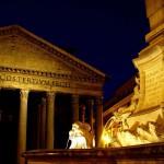 Фонтан и Храм всех богов ночью