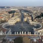 Площадь Святого Петра, видно из верхней части купола базилики Святого Петра