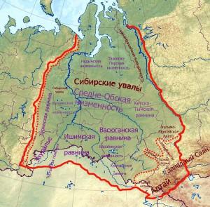 Карта территории Васюганских болот