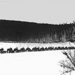 Обоз экспедиции 1929-30 гг. на р.Подкаменная Тунгуска. Для перевозки грузов от г.Канска было нанято 50 подвод