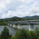 Мост через реку Бия в Верх-Бийске, Турочакский район, Республика Алтай, Россия
