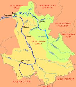 Схема бассейнов Катуни и Бии