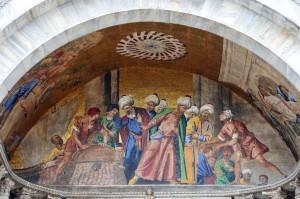 Изображение сцены из истории о похищении святых мощей Апостола Марка