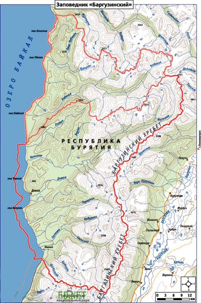 Карта Баргузинского заповедника