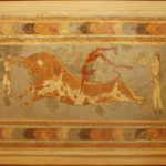 Таврокатапсия, фреска из Большого дворца в Кноссе, Крит
