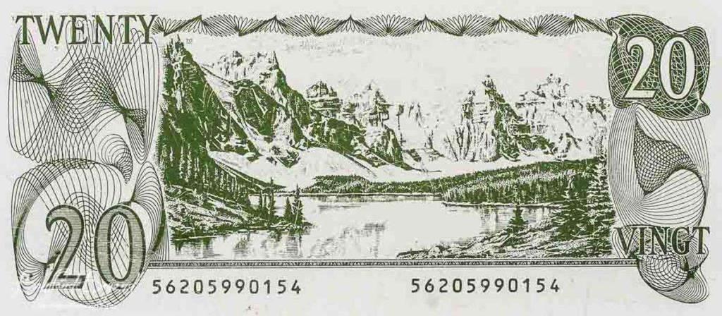 20-ти долларовая купюра с изображением  окрестностей озера Морейн